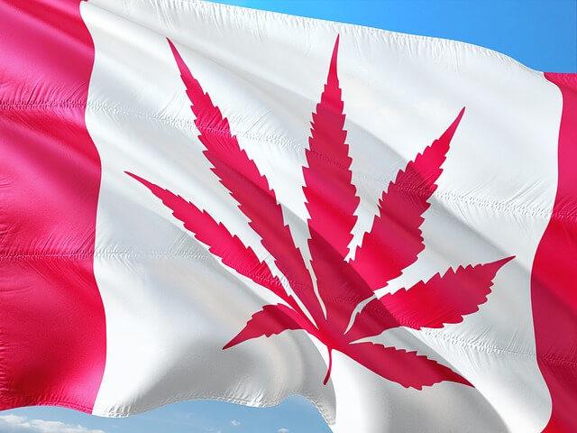 Kanadische Flagge im Stil der Cannabis Legalisierung